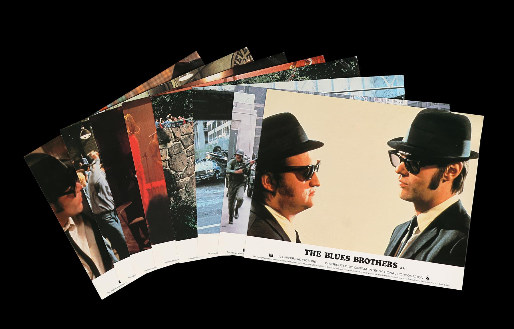 THE BLUES BROTHERS (1980) - Eight British Front of House Lobby Cards, 1980