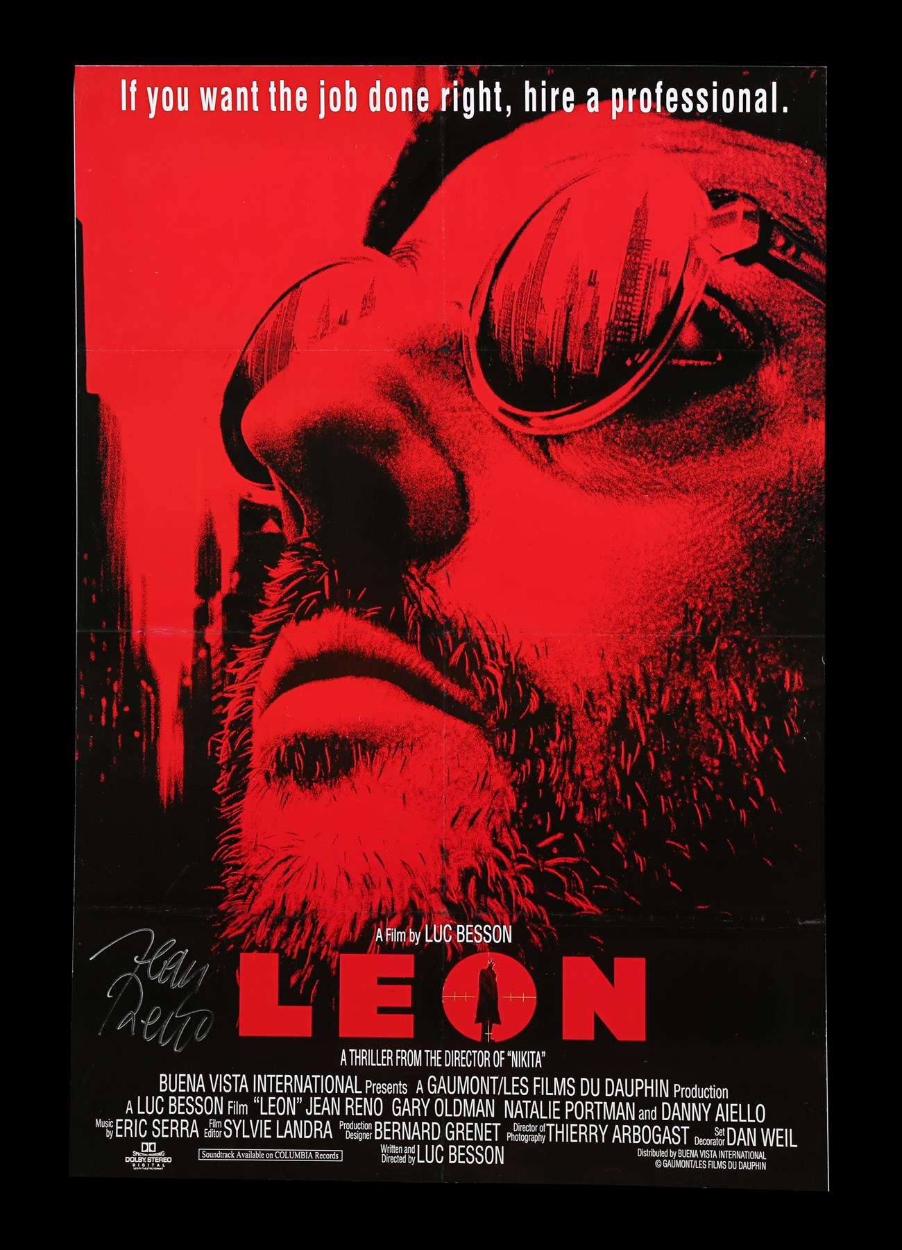 LEON (1994) - UK One-Sheet, 1994, Autographed by Jean Reno
