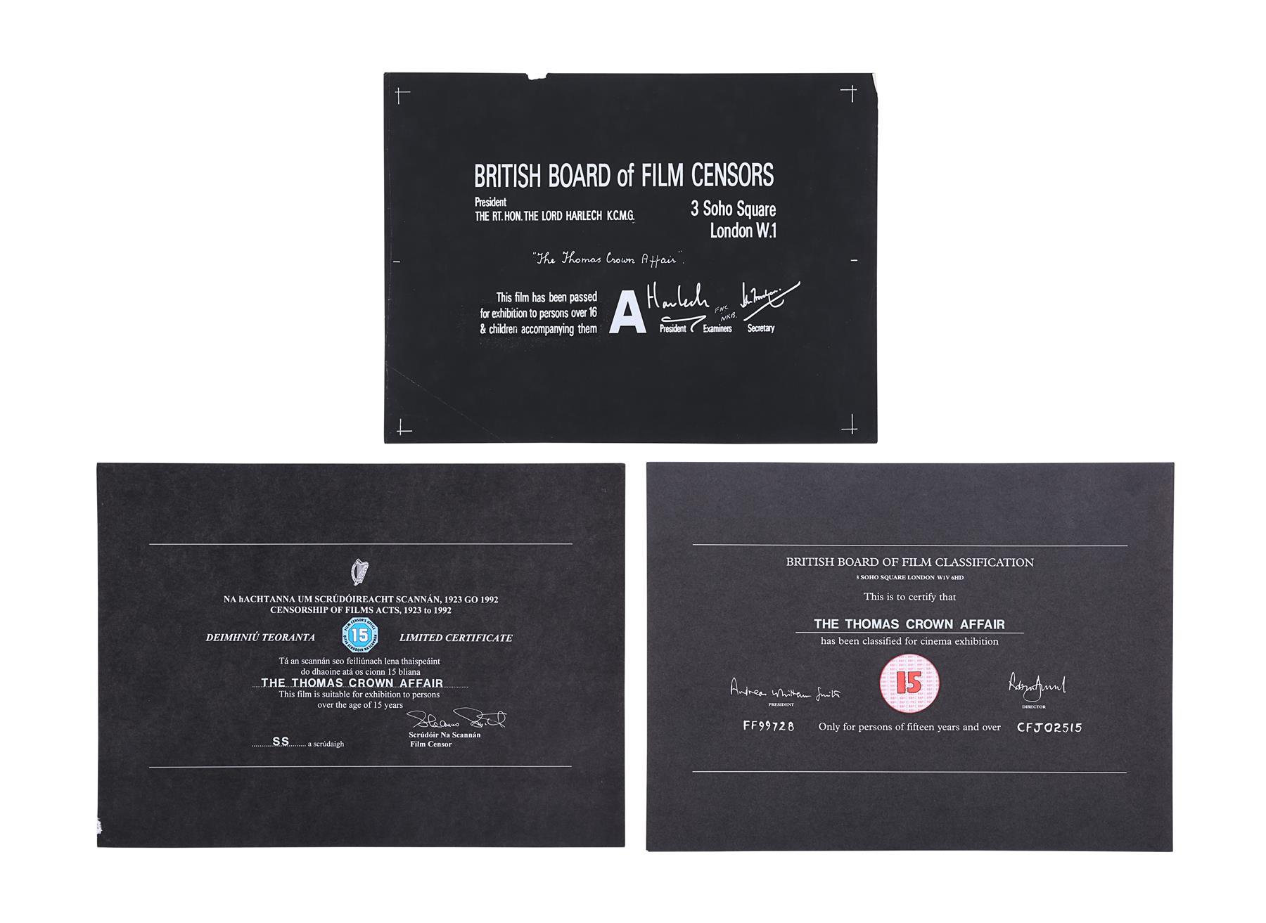THE THOMAS CROWN AFFAIR (1968, 1999) - BBFC Certificates (McQueen/Brosnan), 1968, 1999