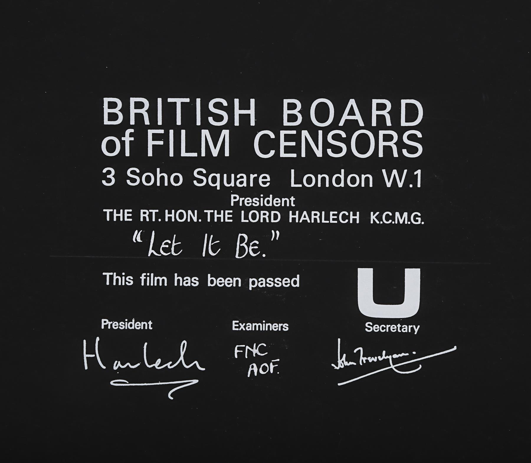 LET IT BE (1969) - BBFC Certificate, 1969 - Image 2 of 2