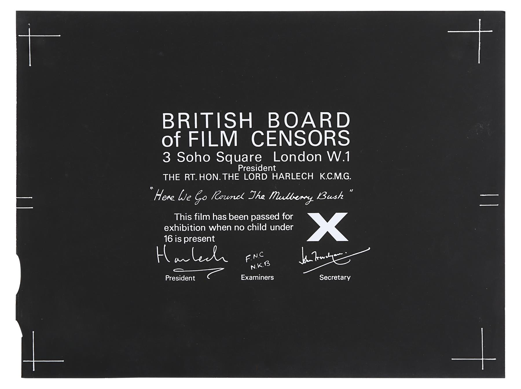 VARIOUS PRODUCTIONS - BBFC Certificates of British Classics - Image 5 of 6