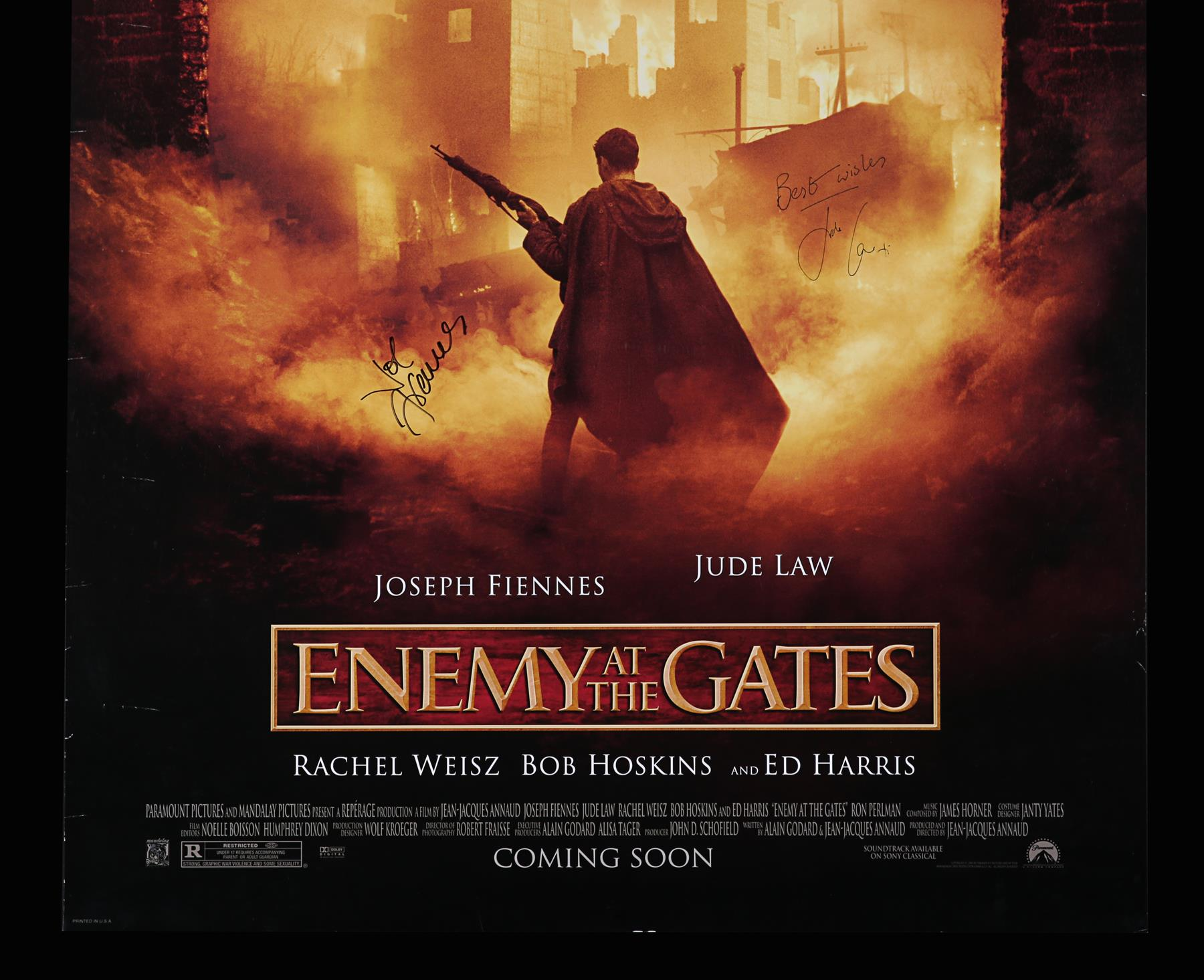 ENEMY AT THE GATES (2001) - US One-Sheet, 2001, Autographed by Jude Law and Joseph Fiennes - Image 3 of 6