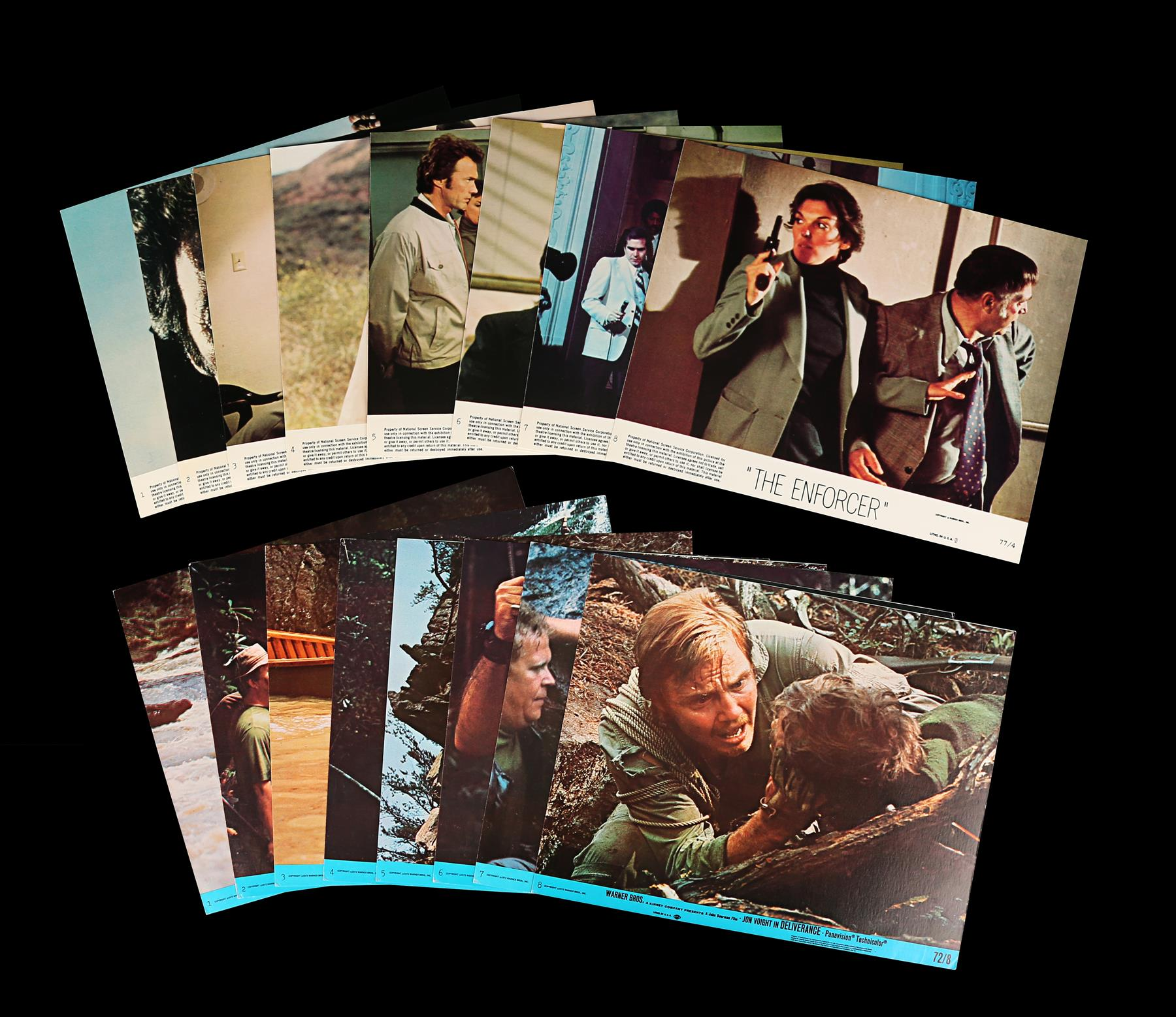 DELIVERANCE (1972), THE ENFORCER (1977) - Two Sets of US Front of House Lobby Cards, 1972, 1977