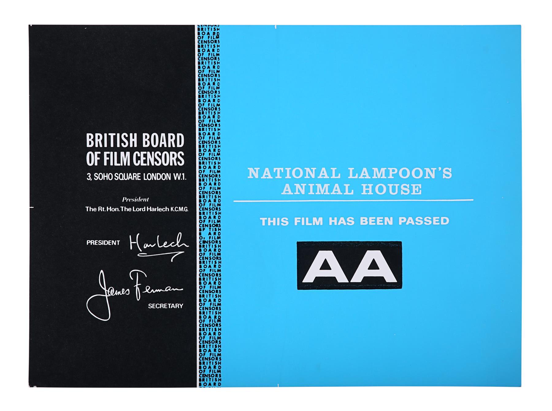 THE BLUES BROTHERS (1980), ANIMAL HOUSE (1978) - BBFC Certificates John Landis, 1978, 1980 - Image 2 of 3