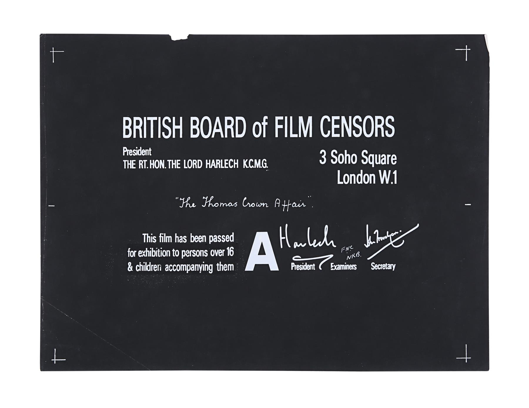 THE THOMAS CROWN AFFAIR (1968, 1999) - BBFC Certificates (McQueen/Brosnan), 1968, 1999 - Image 2 of 4