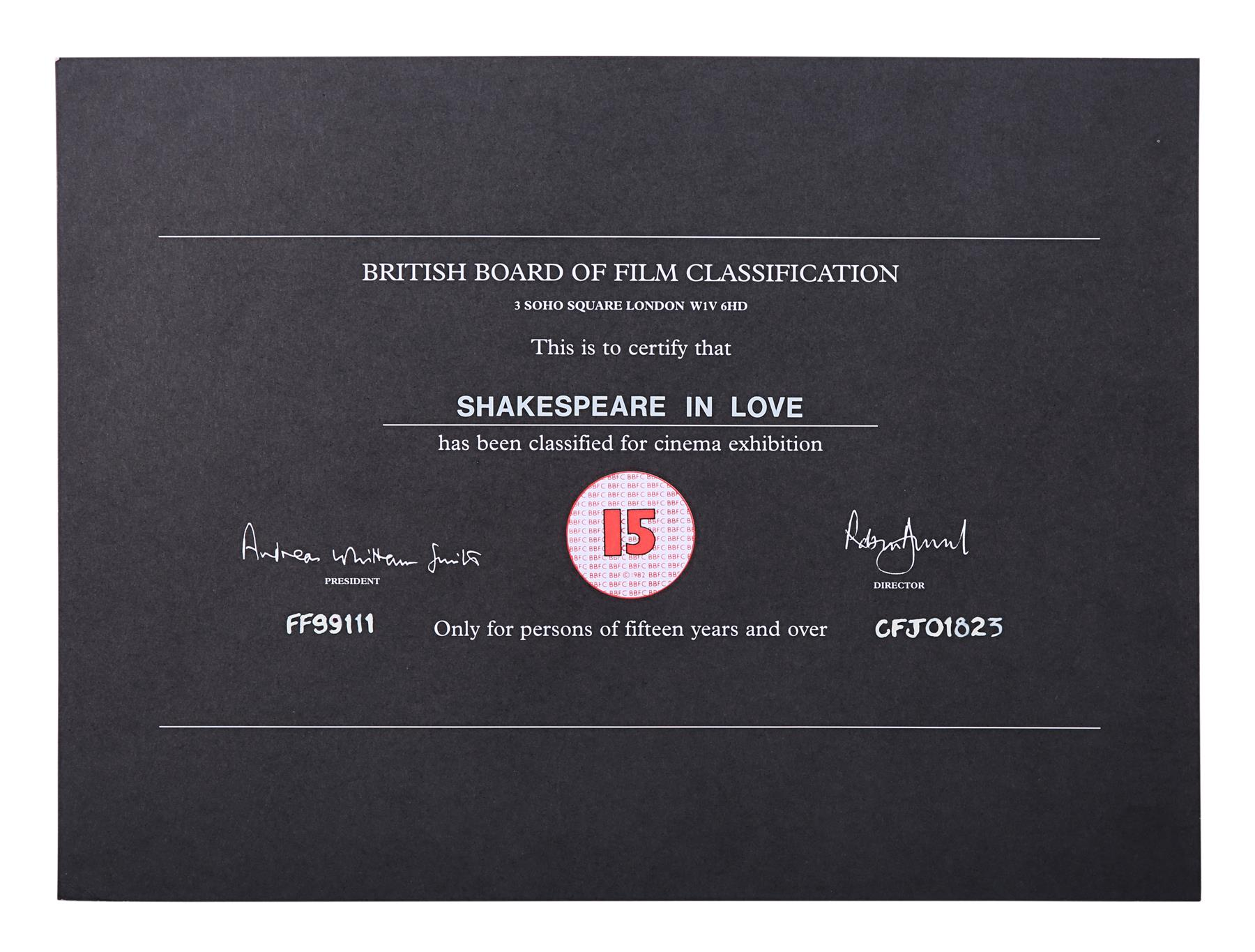 VARIOUS PRODUCTIONS - BBFC Certificates Romance Films - Image 6 of 7
