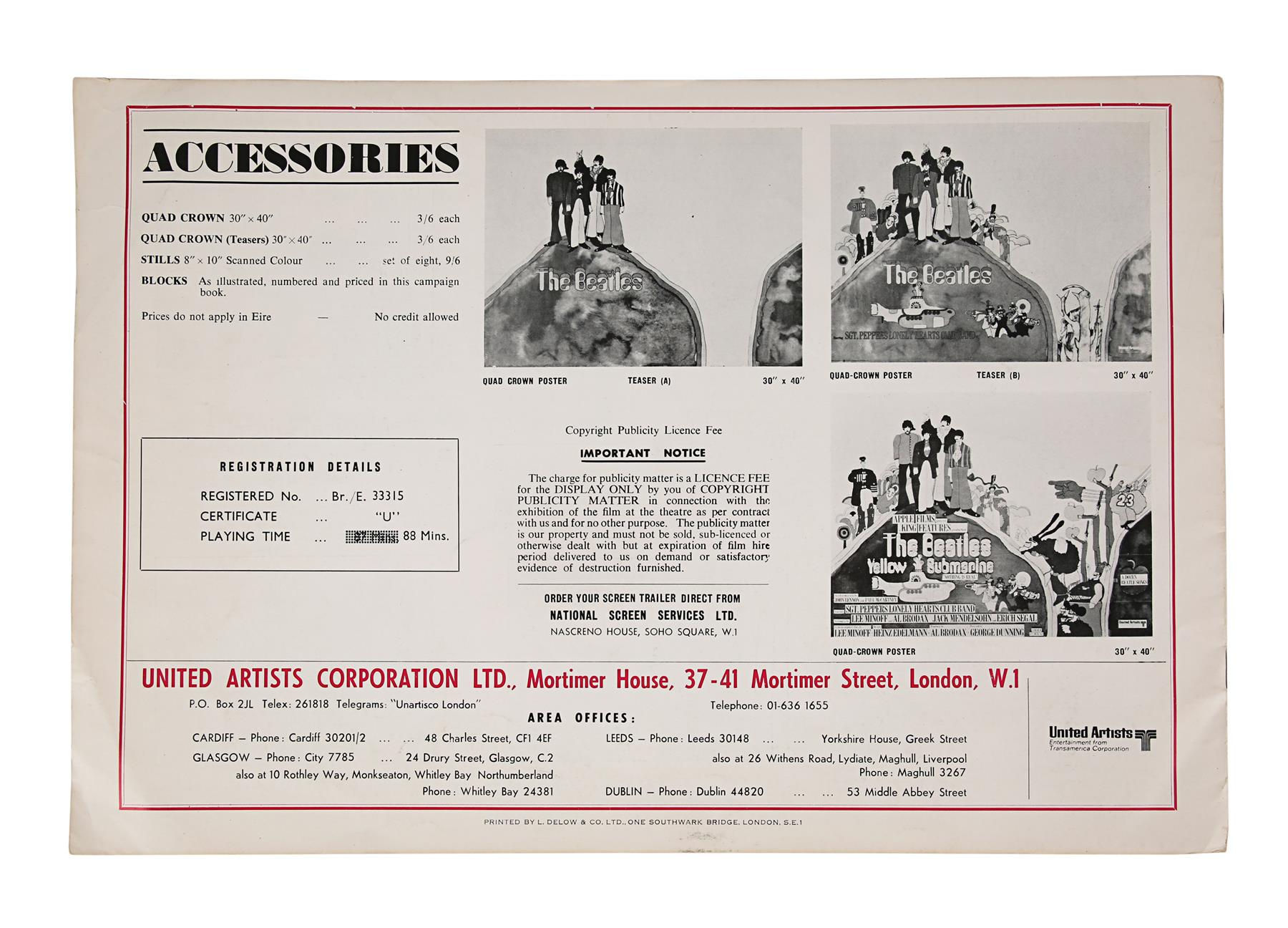 YELLOW SUBMARINE (1968) - British Exhibitors' Campaign Book and Two Advertising Supplements, 1968 - Image 7 of 7