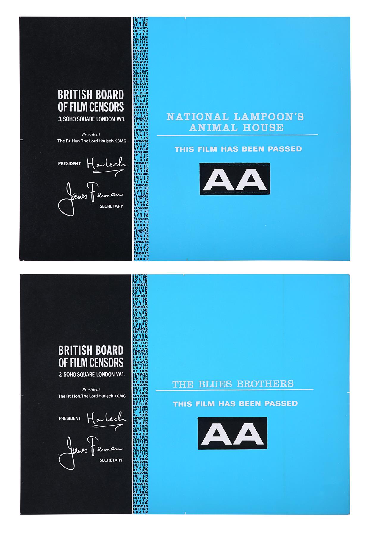 THE BLUES BROTHERS (1980), ANIMAL HOUSE (1978) - BBFC Certificates John Landis, 1978, 1980