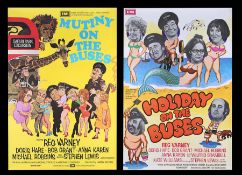 MUTINY ON THE BUSES (1972), HOLIDAY ON THE BUSES (1973) - Two British One-Sheets, 1972, 1973