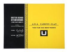 A.K.A. CASSIUS CLAY (1970) - BBFC Certificate, 1970