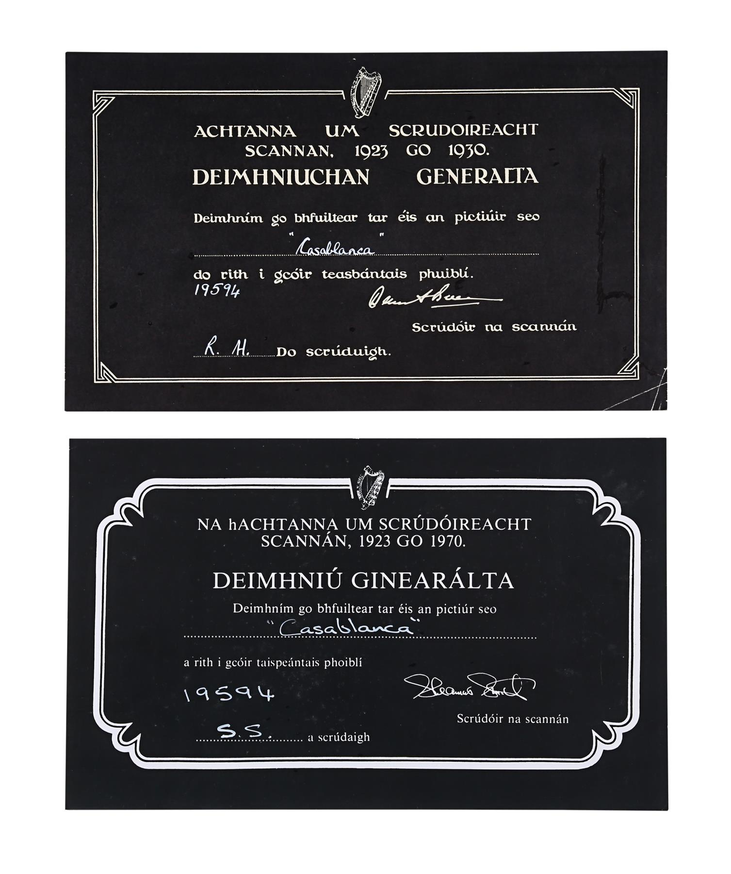 CASABLANCA (1942) - BBFC Irish Certificates, 1942