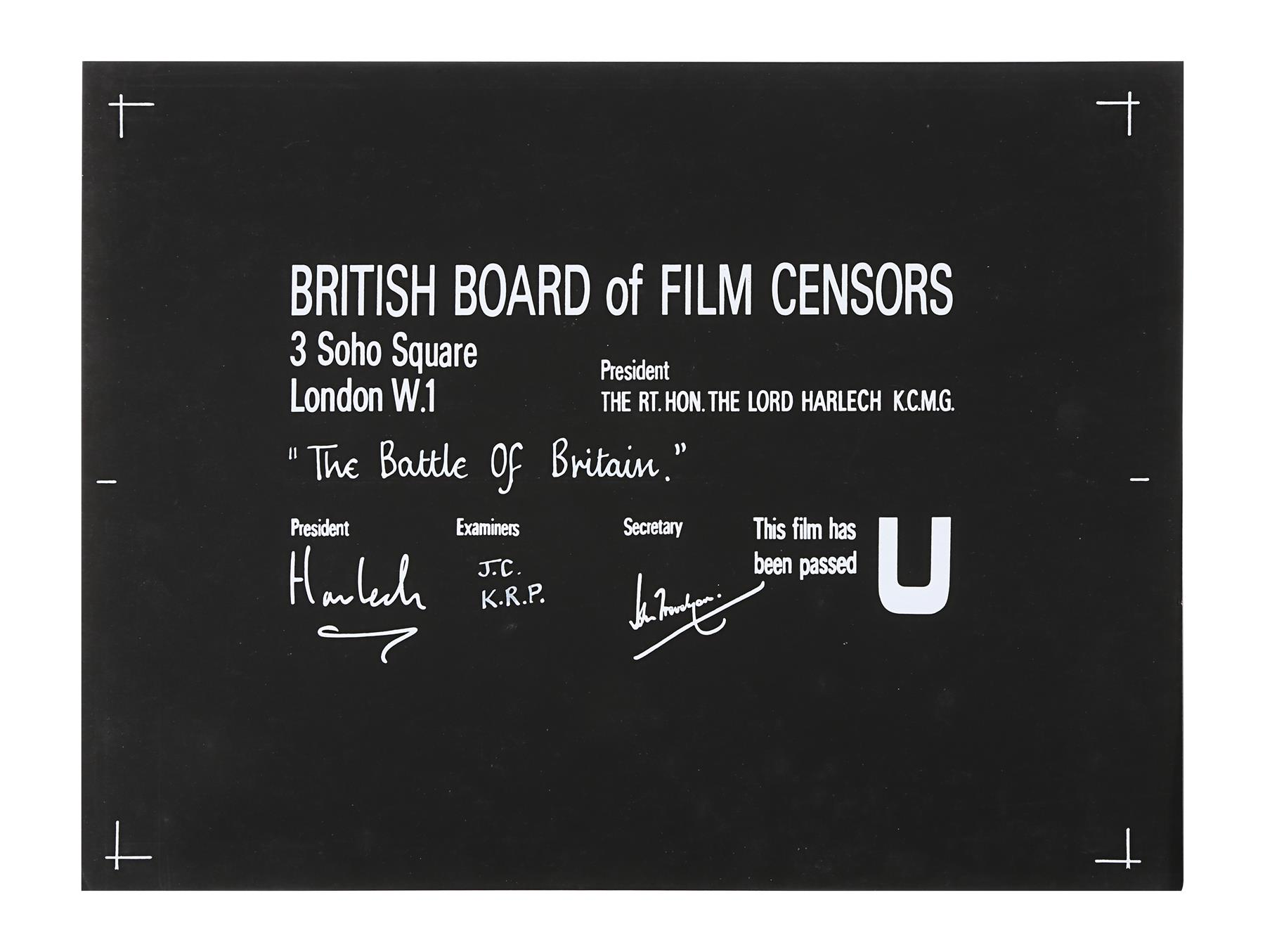 VARIOUS PRODUCTIONS - BBFC Certificates of British Classics - Image 2 of 6