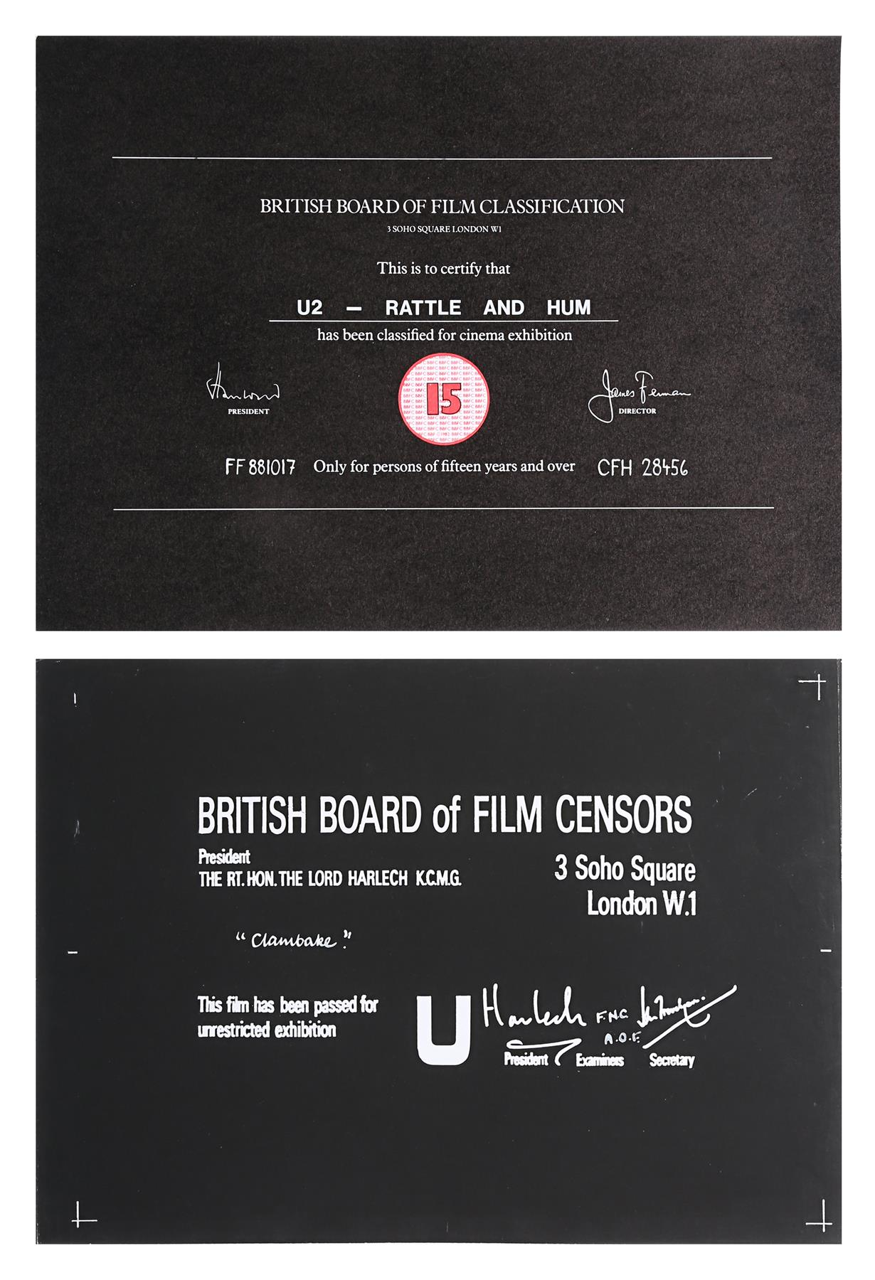 VARIOUS PRODUCTIONS - BBFC Certificates Music Related - Image 4 of 4