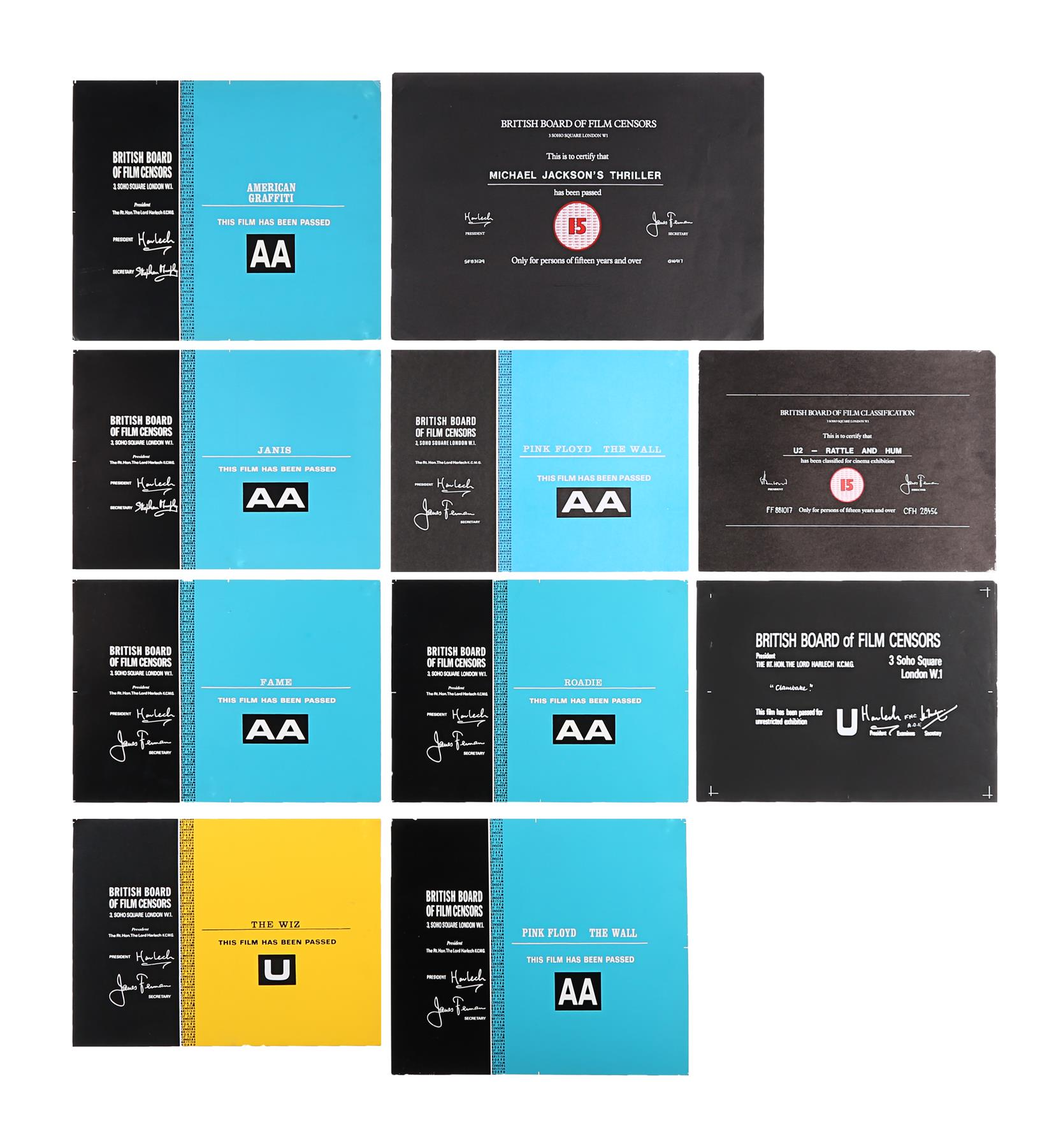 VARIOUS PRODUCTIONS - BBFC Certificates Music Related