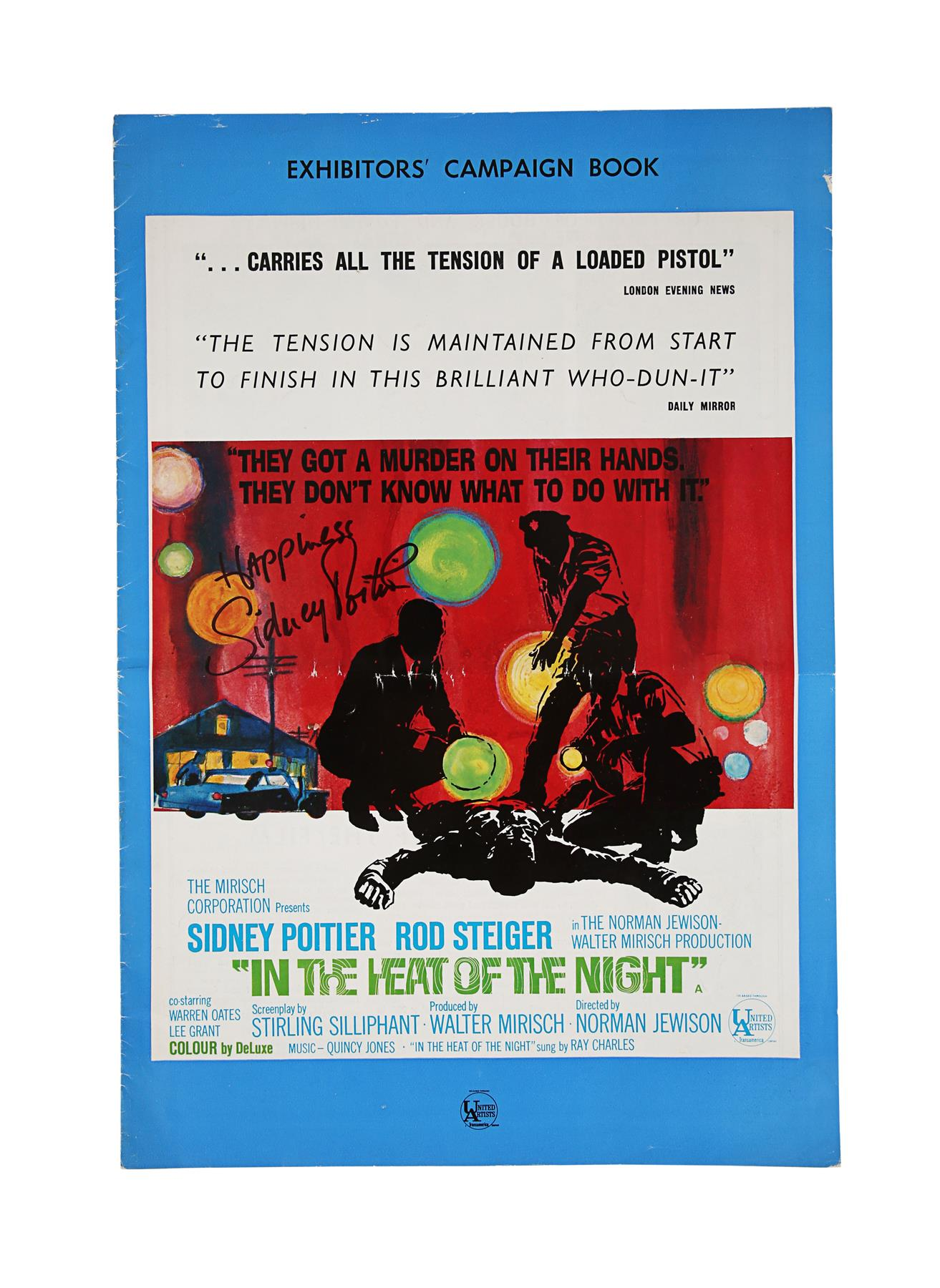 IN THE HEAT OF THE NIGHT (1967) - British Exhibitors' Campaign Book, 1967, Autographed by Sidney Poi