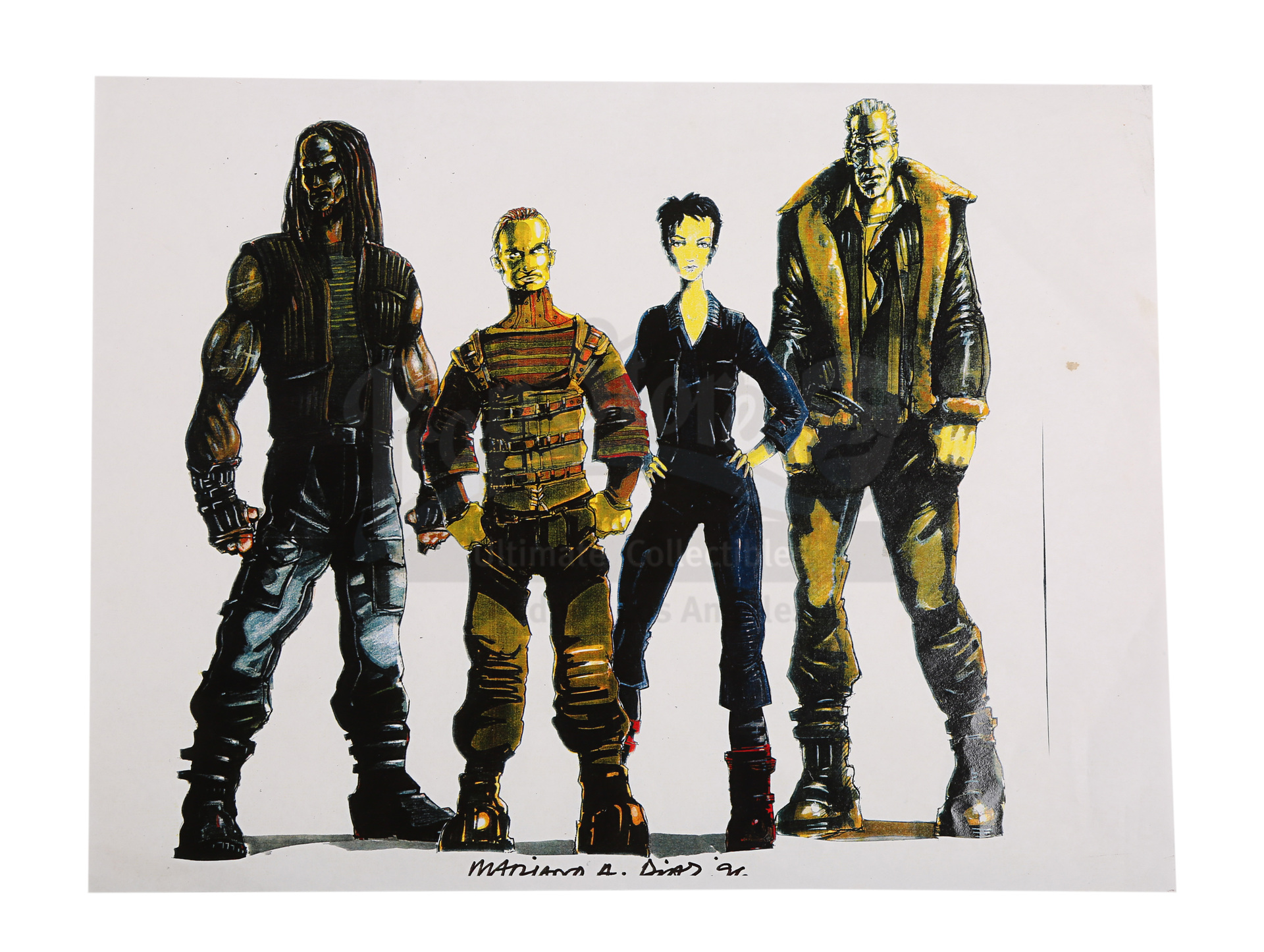 ALIEN RESURRECTION (1997) - Mariano Diaz Hand-drawn and Painted Main Cast Character Designs and Conc - Image 7 of 10