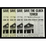 """BACK TO THE FUTURE (1985) - Set of Four """"Save The Clock Tower"""" Flyers"""