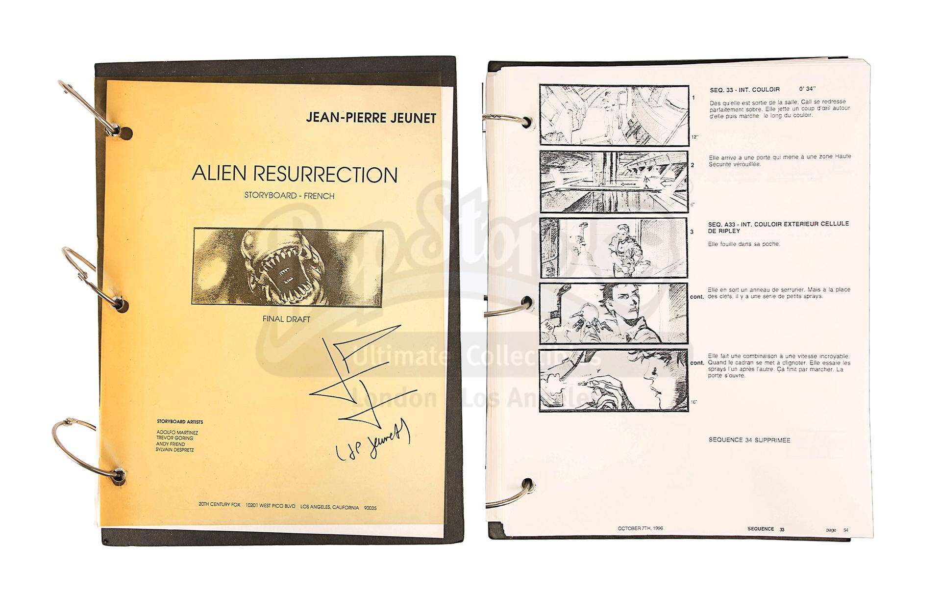 ALIEN RESURRECTION (1997) - Jean-Pierre Jeunet's Personal Storyboard Binder