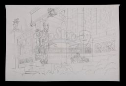JASON AND THE ARGONAUTS (1963) - Ray Harryhausen Hand-Drawn Concept Sketch of Jason's (Todd Armstron