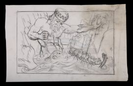 JASON AND THE ARGONAUTS (1963) - Ray Harryhausen Hand-Drawn Concept Sketch of Triton (William Gudgeo