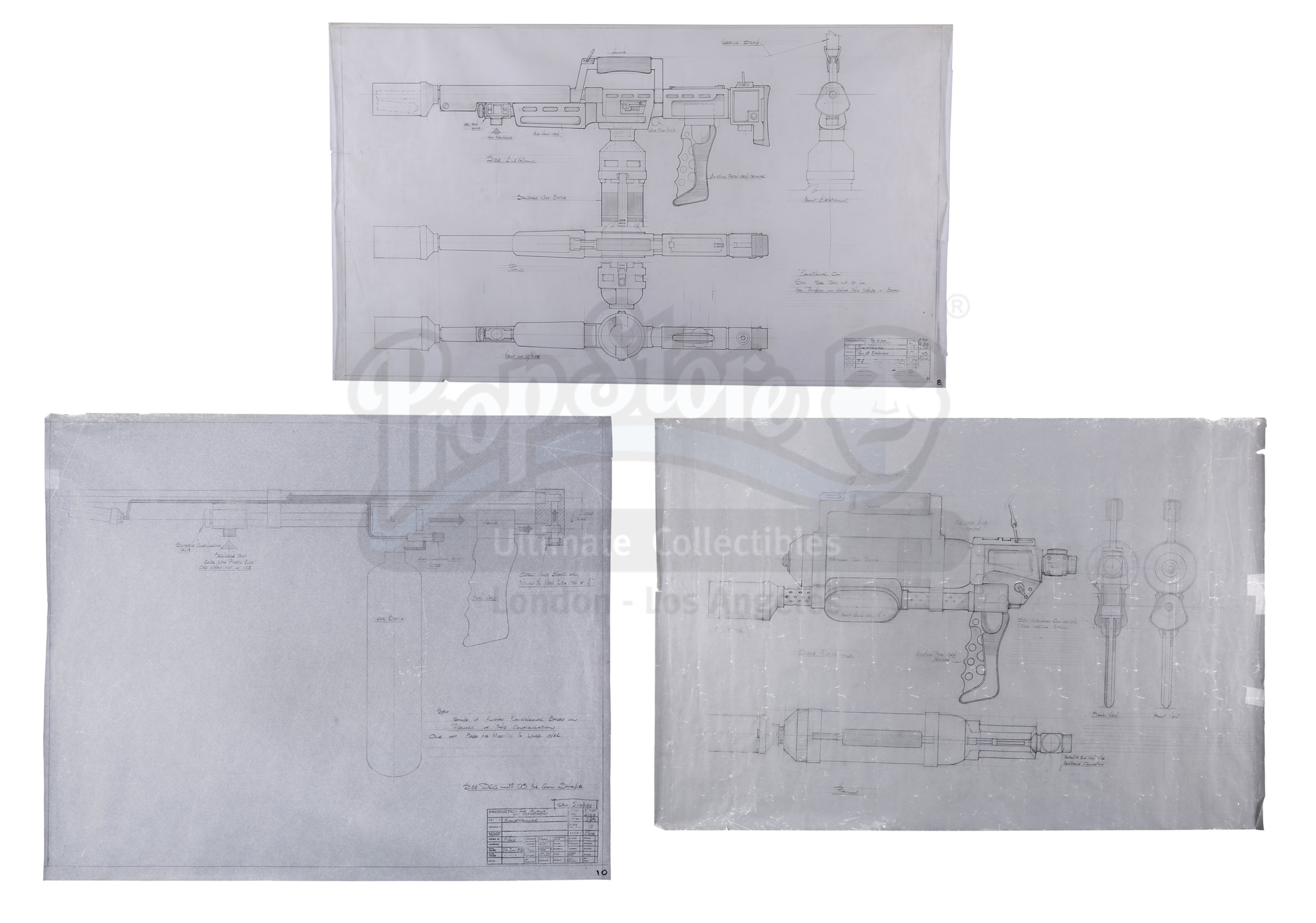 ALIENS (1986) - Three Hand-drawn Flamethrower Production Design And Concept Artworks