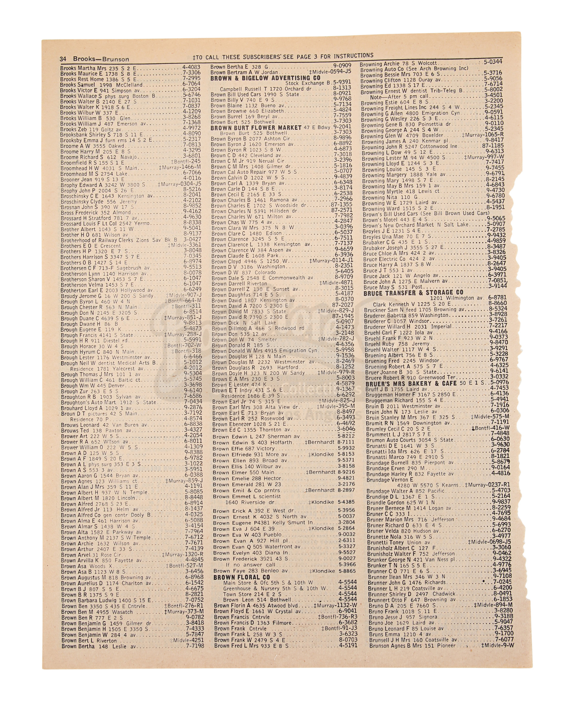 BACK TO THE FUTURE (1985) - Torn Phone Book Page