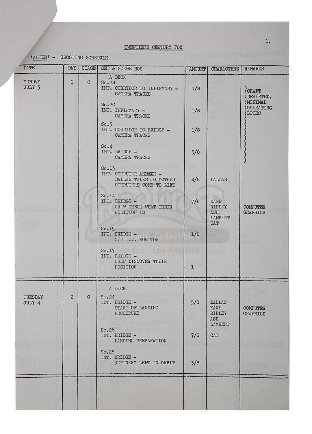 ALIEN (1979) - Prop Department Rake and Shooting Schedule - Image 10 of 11