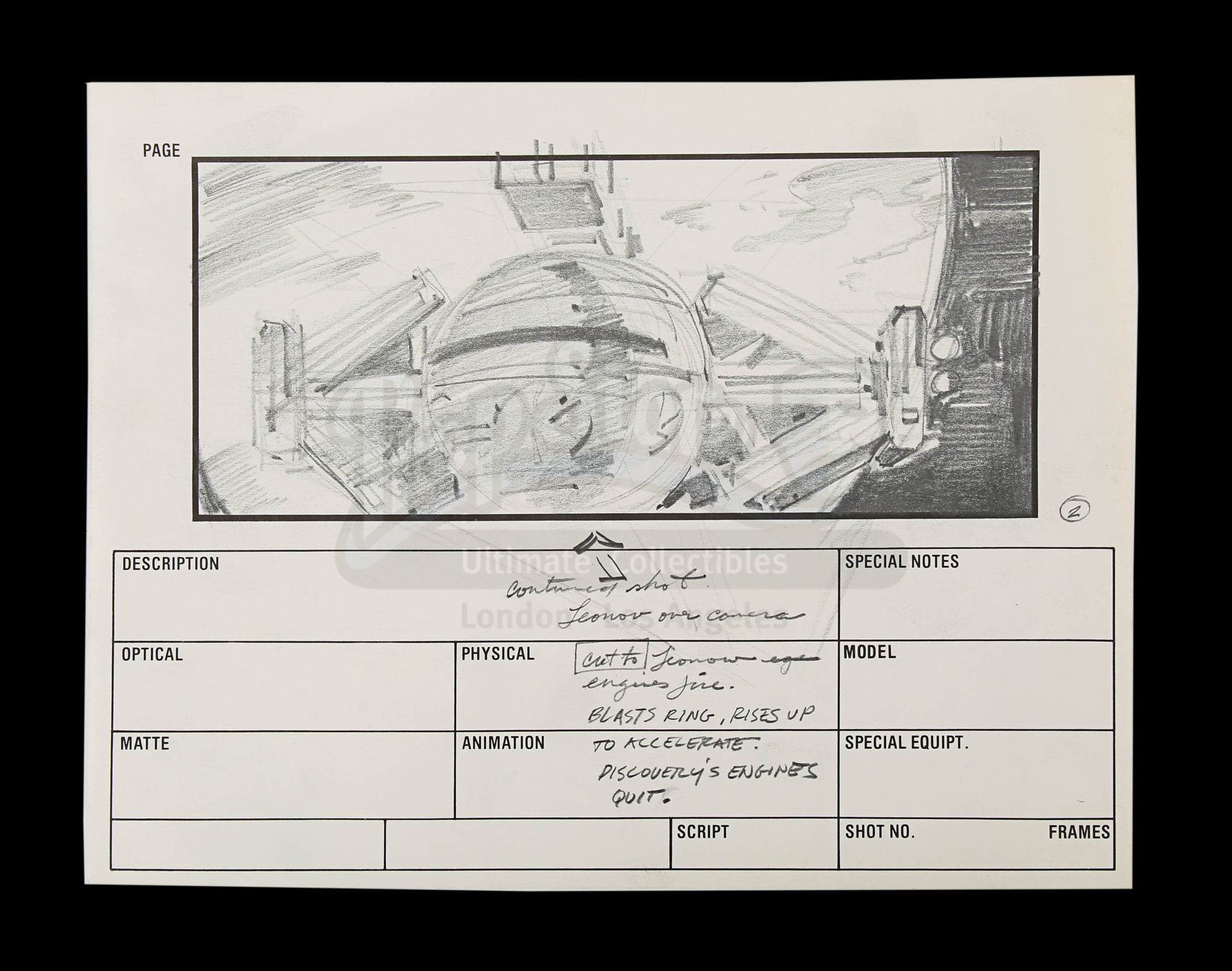 2010: THE YEAR WE MAKE CONTACT (1985) - Hand-Drawn Storyboards: Jupiter Escape - Image 7 of 9