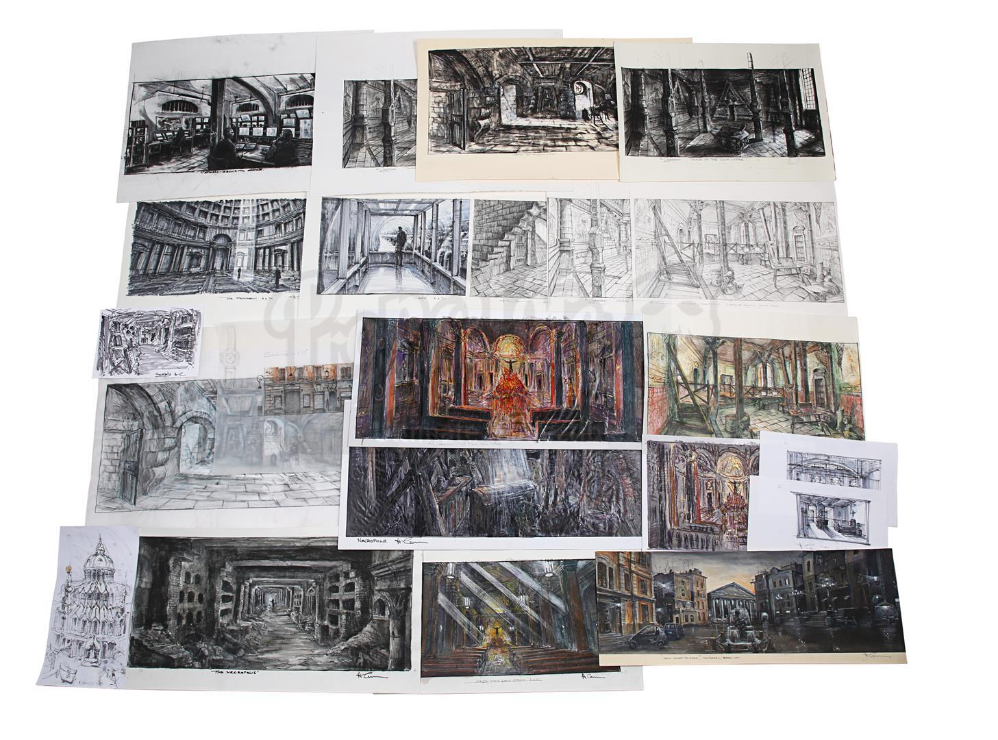 ANGELS & DEMONS (2009) - Collection of Allan Cameron Hand-painted and Printed Rome and Vatican City