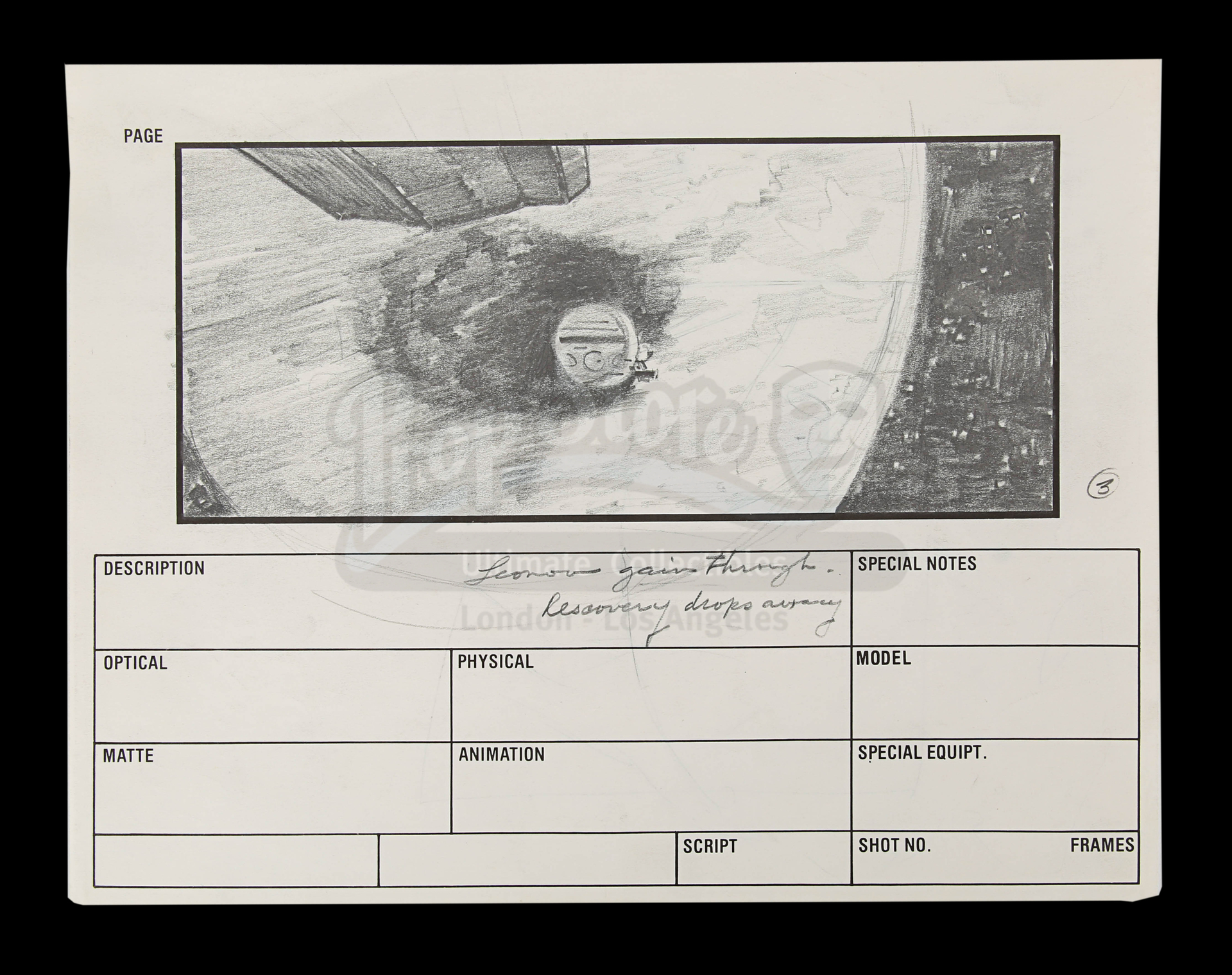 2010: THE YEAR WE MAKE CONTACT (1985) - Hand-Drawn Storyboards: Jupiter Escape - Image 3 of 9