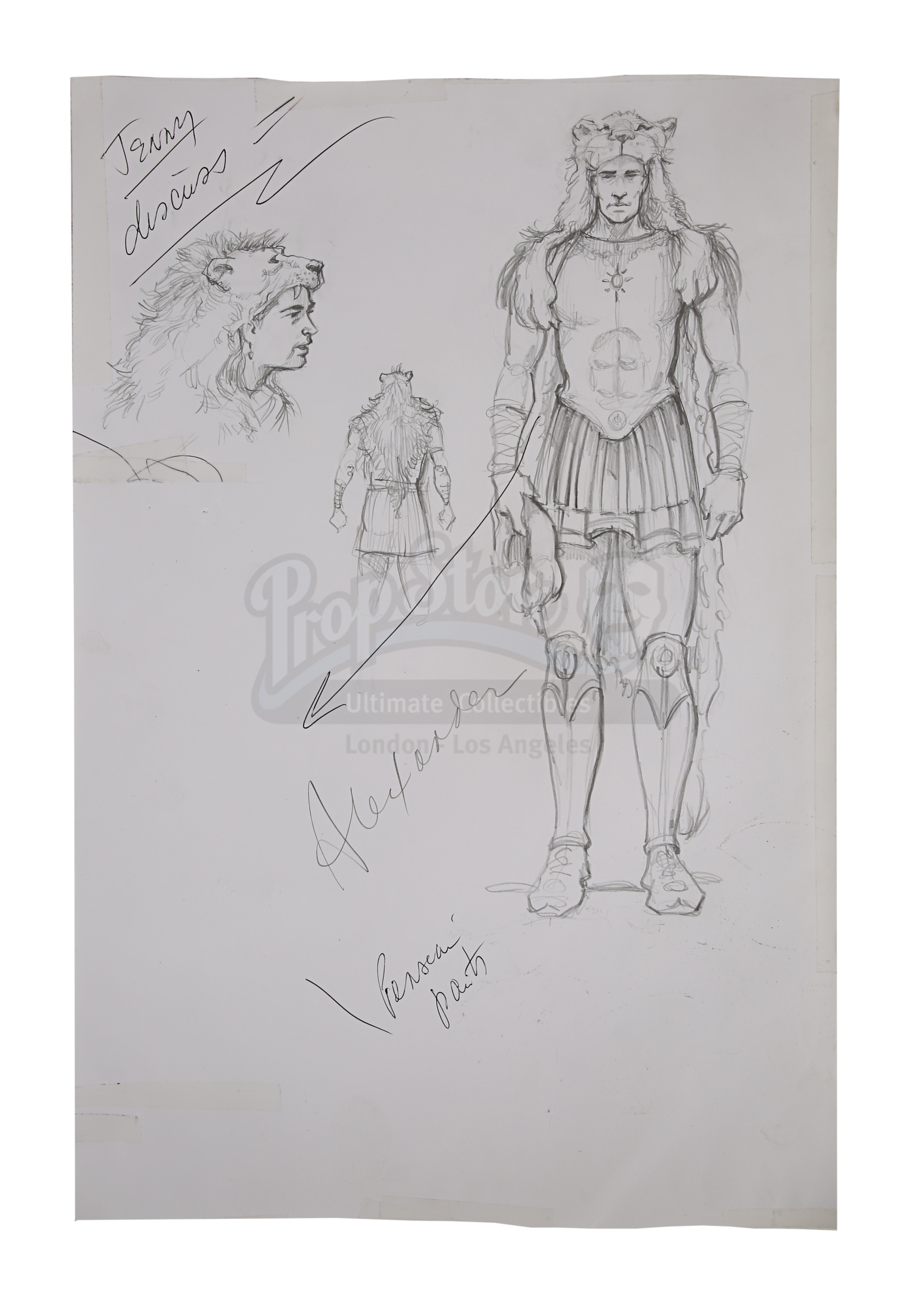 ALEXANDER (2004) - Hand-Drawn Alexander (Colin Farrell) Costume Sketches, Printed Character Concept - Image 4 of 10