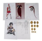 ALEXANDER (2004) - Hand-Drawn Alexander (Colin Farrell) Costume Sketches, Printed Character Concept