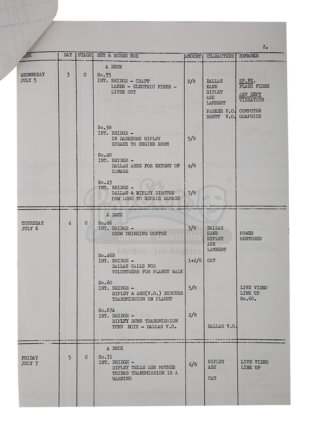 ALIEN (1979) - Prop Department Rake and Shooting Schedule - Image 11 of 11