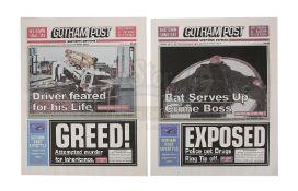 BATMAN BEGINS (2005) - Two Gotham Post Newspapers