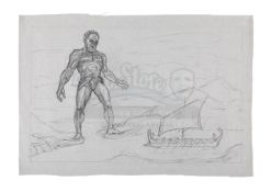 JASON AND THE ARGONAUTS (1963) - Ray Harryhausen Hand-Drawn Concept Sketch of Talos