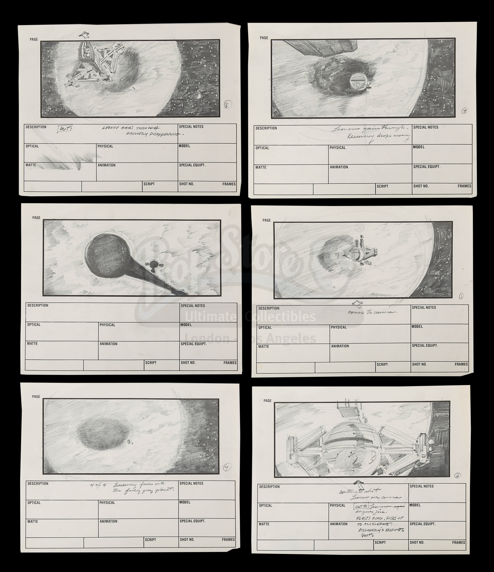 2010: THE YEAR WE MAKE CONTACT (1985) - Hand-Drawn Storyboards: Jupiter Escape