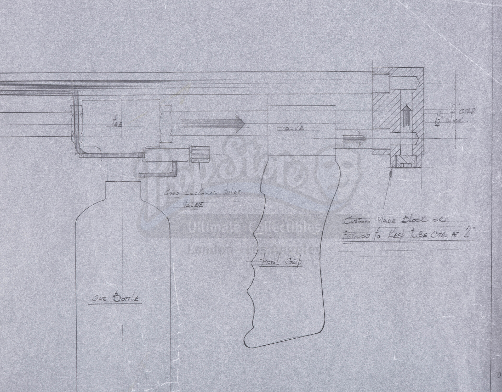 ALIENS (1986) - Three Hand-drawn Flamethrower Production Design And Concept Artworks - Image 11 of 18