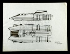 STAR WARS: THE EMPIRE STRIKES BACK (1980) - Hand-drawn Joe Johnston Snowspeeder Concept Sketch