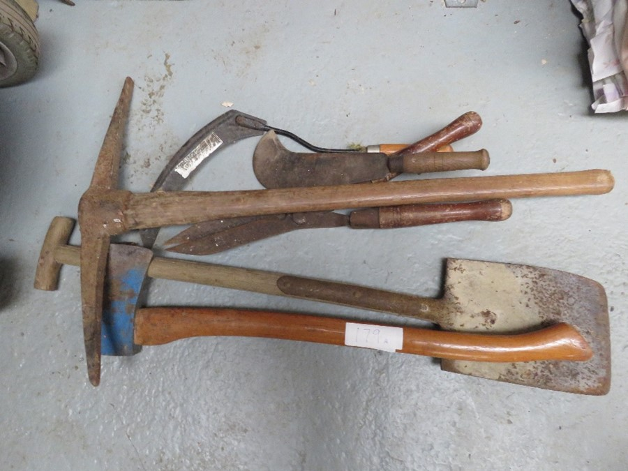 Lot 179 - A group of tools to include a axe