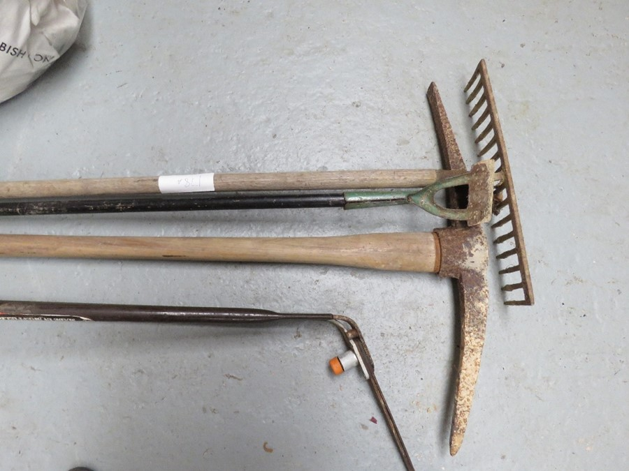 Lot 178 - A group of tools to include pick axe