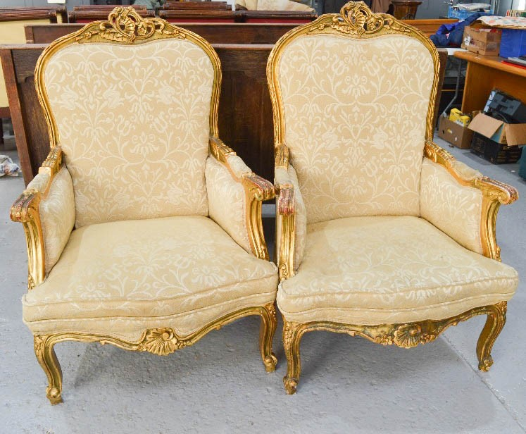 Lot 361 - Two French giltwood 19th century style armchairs, with cream upholstery.