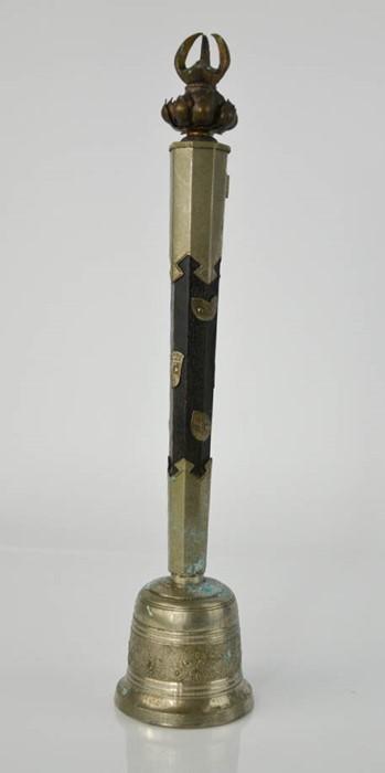 Lot 283 - An early 20th century Tibetan silver/bronze/ebonised wood ritual Buddhist prayer bell