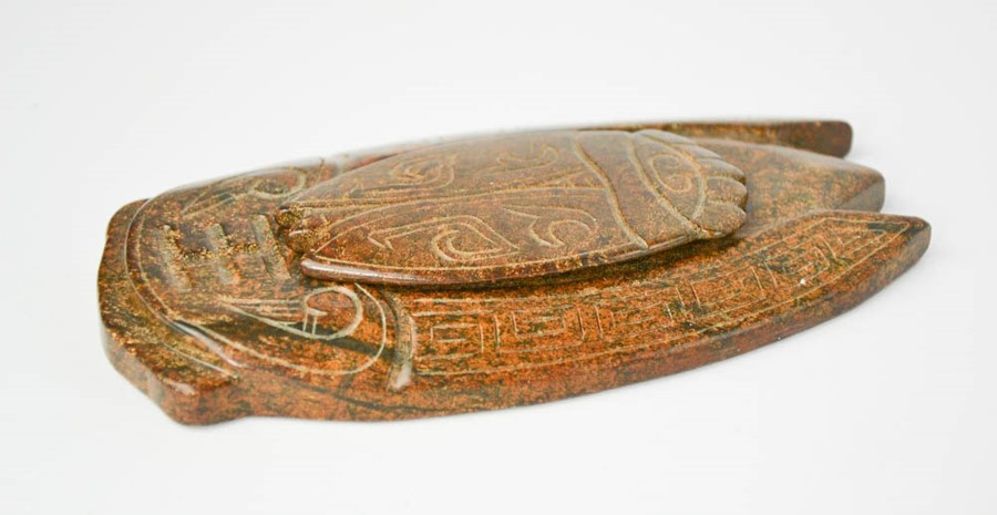 Lot 235 - A Chinese handcarved natural jade large inkstone of cicada, with lid 15cm