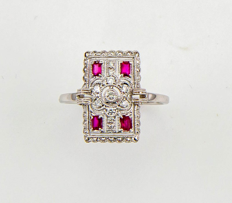 Lot 11 - An 18ct white gold Art Deco style diamond and ruby ring, size O, 3.17g.