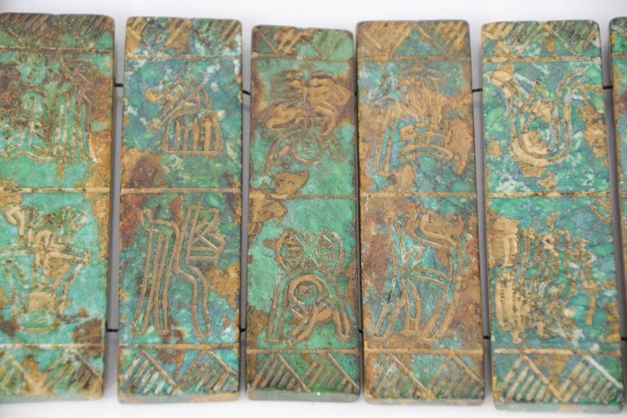 Lot 270 - A vintage Chinese natural jade book screen decorated with hand carved script. 25cm x 14cm