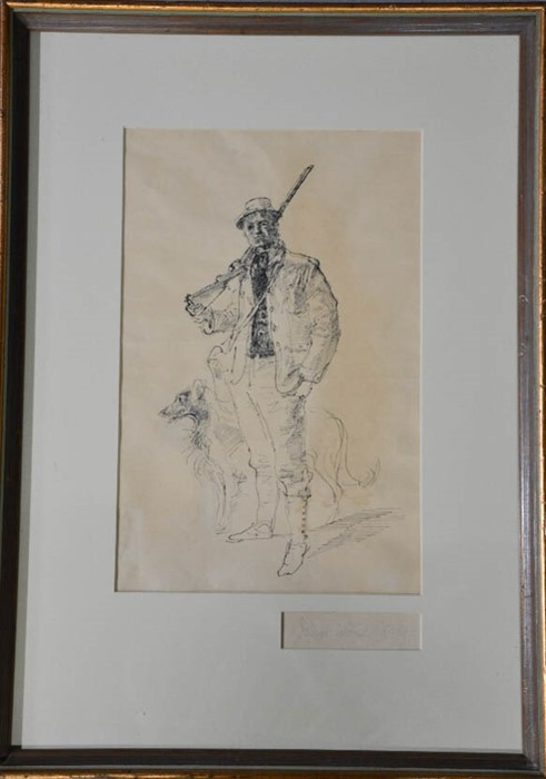 Lot 326 - John Stanton Ward RA (1917-2007): huntsman and his dog, ink on paper, signed in pencil, 34 by 20cm.
