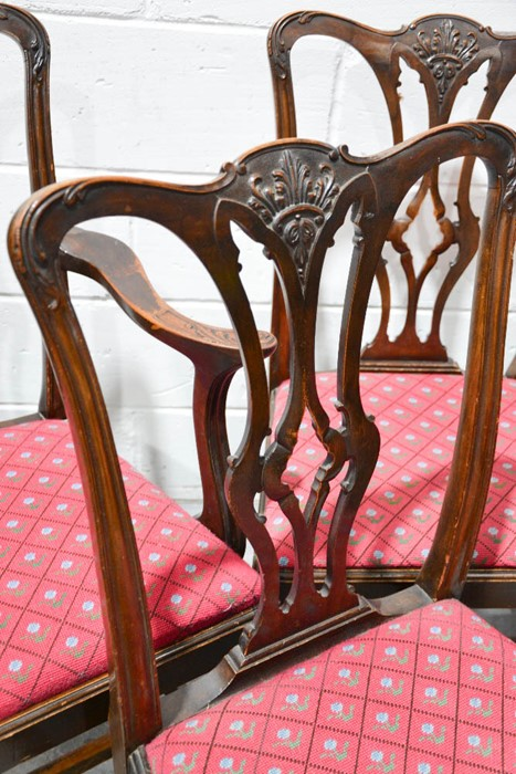 Lot 368 - A set of six 19th century mahogany Chippendale period dining chairs including two carvers, the