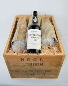 Twelve bottles of Quinta do Sibio 1982 vintage port imported by Mayor Sworder's in wooden crate