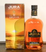 A bottle of Jura Single Malt Scotch Whisky, aged 10 years, origin, in original box.