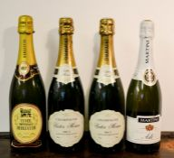 Two bottles of Victor Morin Champagne, Brut, 750ml, together with Martini Asti and Cuvee Imperiale